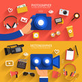 Illustrate flat design vector concept photographer and video vector Royalty Free Stock Images