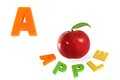 Illustrated alphabet letter a and apple on white Royalty Free Stock Photo
