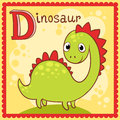 Illustrated alphabet letter d and dinosaur animal for the kids Royalty Free Stock Photos