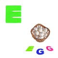 Illustrated alphabet letter e and eggs on white background Stock Images