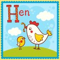 Illustrated alphabet letter h and hen animal for the kids Royalty Free Stock Image