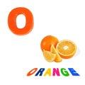 Illustrated alphabet letter o and orange on white