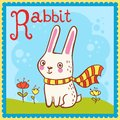 Illustrated alphabet letter r and rabbit animal for the kids Royalty Free Stock Image