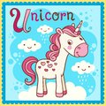Illustrated alphabet letter u and unicorn animal for the kids Royalty Free Stock Photography