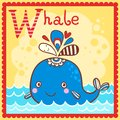 Illustrated alphabet letter W and whale. Royalty Free Stock Photo