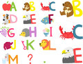 Illustrated Alphabet A-M Royalty Free Stock Image