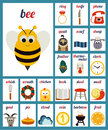 Illustrated alphabet phonemes vector cards with Royalty Free Stock Photo