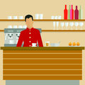 Illustrated barista in coffee shop