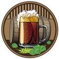 Beer tag, beer mugs and barrels