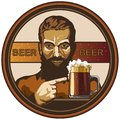 Illustrated beer tag, brewer and beer