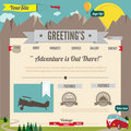 Illustrated cartoon-retro styled website template Royalty Free Stock Images