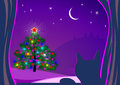 Illustrated Christmas tree and cat Royalty Free Stock Image