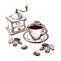 Illustrated coffee set Royalty Free Stock Photos