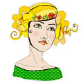 Illustrated cute abstract girls Royalty Free Stock Photo