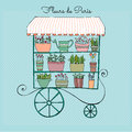 Illustrated cute flower shop vector on wheels Royalty Free Stock Images