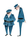 Illustrated cute police officers on white background Royalty Free Stock Photos