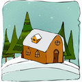 Illustrated cute winter landscape Stock Image