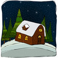 Illustrated cute winter landscape Stock Photos