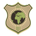 Illustrated globe crest. Stock Photos