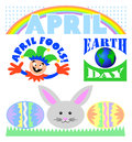 Illustrated headlines april events including april fools day earth day easter april showers bring may flowers Royalty Free Stock Image