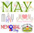 Illustrated headlines may events including mother s day cinco de mayo memorial day two headlines may spring flowers maypole Stock Photography