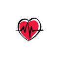 Illustrated heart with ekg, vector cardiology icon.