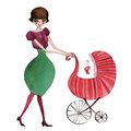 Illustrated mother with baby stroller Royalty Free Stock Images