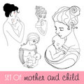 Illustrated mother and child Royalty Free Stock Photo