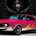 Illustrated muscle car. Royalty Free Stock Images