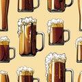Illustrated pattern of beer mugs