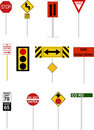 Illustrated Road Signs Royalty Free Stock Photo