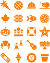 Illustrated set of different orange icons isolated on white background Stock Image