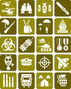 Illustrated set military army signs isolated white background Royalty Free Stock Photo