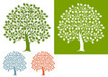Illustrated set of oak trees Royalty Free Stock Photography