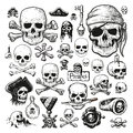 Illustrated set of pirate skulls Royalty Free Stock Photo