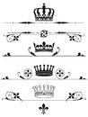 Illustrated set of royal crowns with design elements on a white background Stock Photo
