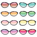 Illustrated set of sunglasses in different fashion styles and lens colors Stock Photos