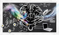 Illustrated skills right left brain blackboard Stock Image