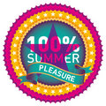 Illustrated summer label. Royalty Free Stock Photos