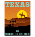 Illustrated travel poster or sticker for Texas, USA