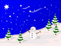 Illustrated Winter Scene Royalty Free Stock Images