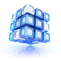 Illustration with abstract blue composite cube Royalty Free Stock Photos