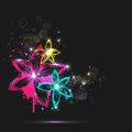 Illustration of abstract colorful glowing flower Stock Images