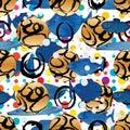 Circle 3d 2d ink ball symmetry watercolor fish swim seamless pattern
