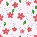 Flower and rain seamless pattern