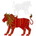 Abstract Illustration of red lion, animal and painted its outline on white background , isolate