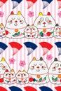 Zen cat Maneki look fan horizontal seamless pattern Royalty Free Stock Photo