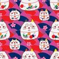 Zen cat Maneki look symmetry fan Sakura seamless pattern Royalty Free Stock Photo