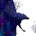 Illustration abstraction wolf coming out dark night Royalty Free Stock Image