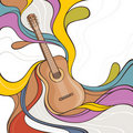 Illustration with acoustic guitar
